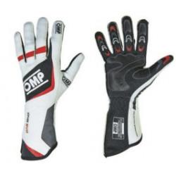 Vit OMP One Evo FIA-handskar. Handskar, racinghandskar, rallyhandskar, folkracehandskar, FIA-godkända handskar.