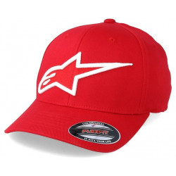 Alpinestars keps röd vit logo rally racing motorsport