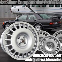 4st Compomotive i Silver TH 1882 8x18 för Audi Quattro och Mercedes. För motorsport rally och racing
